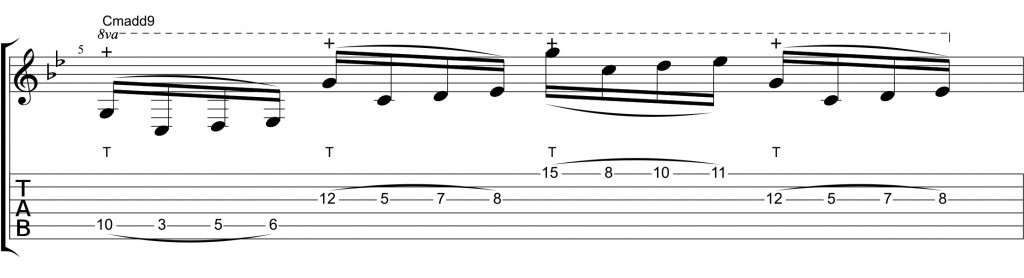 String-Skipping tapping dorian